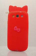 FOR SAMSUNG GALAXY S3 cute hello kitty SOFT CASE RED WITH HOT PINK 3D
