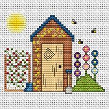 Fat Cat Cross stitch card kit - Garden Shed