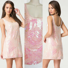 BEBE PINK IRIDSCENT SEQUIN BEADED SHIFT DRESS NEW NWT $189 XSMALL XS
