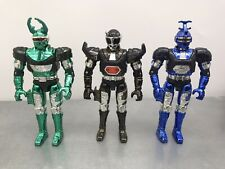 "Lot Metallic Beetleborgs 6"" Blue Stinger / Green Hunter / Shadowborg Bandai 1996"