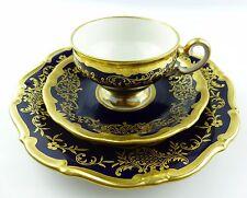 #e5139 3 teiliges Mokkatassengedeck Kobaltblau mit Gold Dekor Weimar Porzellan
