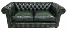 Chesterfield 2.5 Seater Antique Green Leather Sofa Settee Fibre Cushions
