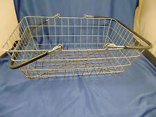 Vtg Metal shopping basket rectangle handles veggie fruit carrier paper magazine