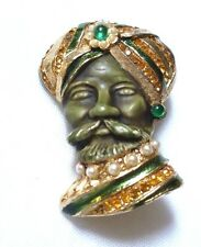 HAR Sultan TURBAN MAN green ENAMEL & faux PEARL gold rhinestone brooch pin- RARE