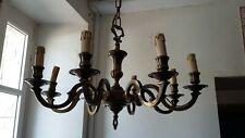 LUSTRE EN BRONZE HUIT LUMIERES, FIN 20e. H. 76, diam 65 cm