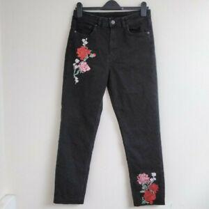 H&M Black Embroidered Floral Trousers UK Size 14