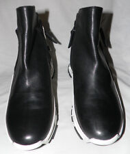 CINZIA ARAIA BLACK LEATHER ANKLE SNEAKER BOOTS Sz. 38