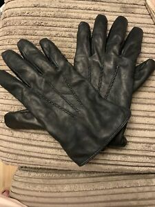 Mens Harssidanzar Leather Gloves With Lining Blk M