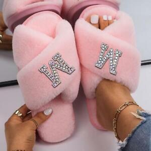 Women's Faux Fur Cozy Slippers Rhinestone Custom Letter Fur Sandals Flip Flops