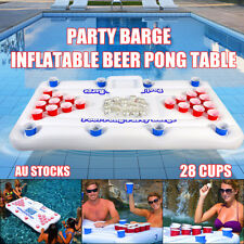 Inflatable Beer Pong Table Pool Floating Lounge Party Barge Game Social 28 Cups