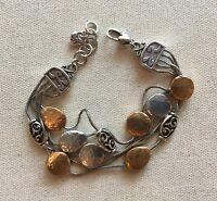 Brighton Mediterranean Bracelet Hammered Silver-Gold Multi-Chain Link