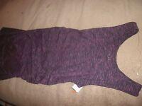 NEW Liz Lange Womens Maternity Dress Sleeveless Ruched Maroon/Black, sz M (B128)
