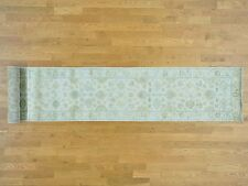 "2'6""x17'4"" White Wash Oushak XL Runner Hand Knotted Pure Wool Rug R29965"