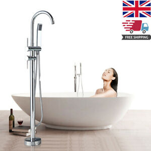 Chrome Bathtub Faucet Free Standing With ABS Handheld Shower 2 handles Mixer Tap