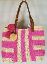 NWT Sonoma large pink beige tan striped woven beach shoulder tote bag purse