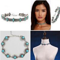 Women's Charm Boho Bohemian Retro Ethnic Choker Gypsy Turquoise Chocker Necklace