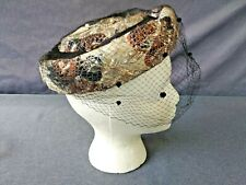 Vintage Ladies Gold/Silver Lamay Netted Pill Box Hat - Young Towners Hat Shop