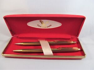 Vintage Centennial Pen and Mechanical Pencil writing set in red velvet box USA