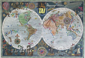 Double Hemisphere Route Map - TAI Airline - 1948 Vintage Airline Travel Poster