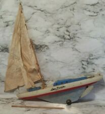 Vintage Reasearch Ind. Model Sail Boat Sea Breeze Wood & Metal Rudder Pond Boat