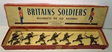 BRITAINS SET #1613 BRITISH INFANTRY SERVICE DRESS STEEL HELMETS GAS MASKS w/ BOX