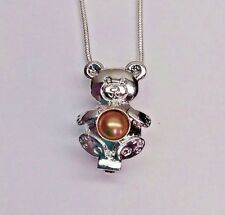 Make a Wish Pearl Cage Pendant Necklace - Teddy Bear - 925 Chain+Pearl Included