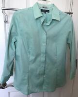 Jones New York Blouse Size M Mint Green Button Up Shirt Non-Iron 3/4 Sleeve