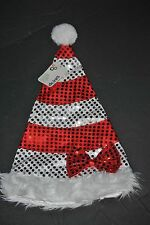 Red & Silver Sequin Striped Faux Fur Bow Trim Santa Hat with Pom Hat, One Size