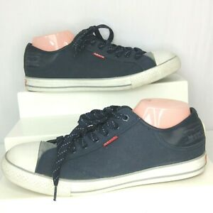Levis Sneakers Stan Buck Blue White Canvas Lace Up Size 11 Mens US Red Tab