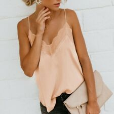 Women Casual Silk Satin Camisole Plain Strappy Vest Top Sleeveless Blouse TankCA