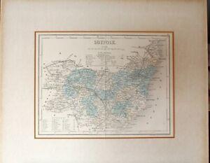 ANTIQUE MAP SUFFOLK 1842 - 5 PUB J.ARCHER PENTONVILLE