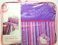 Twin Flannel Girls Hello Kitty Striped Sheet Set Pink Purple 3pc 100% Cotton