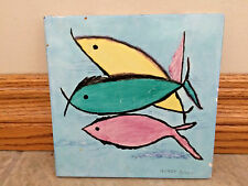 BLUE CERAMIC ART TILE/TRIVET HAND PAINTED FISH bx36