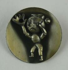 "Jewelry Vintage '60s Pewter Pin / Brooch BOY PLAYING BALL - 1.75"" Round - Heavy"