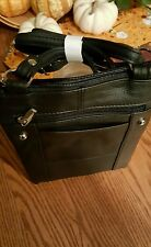 Leather cross body purse black  lots of zipper compartments adjustable strap