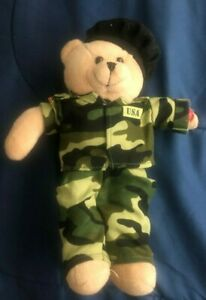 "SINGING USA ARMY TEDDY BEAR [BATTERY OPERATED] ""ARMY GOES ROLLING ALONG"" SONG!"