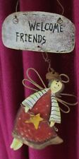 """VINTAGE HANGING TIN PLATE: """"WELCOME FRIENDS ~ ANGEL"""" with tiny bell ~ car /house"""