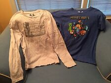 Lot 2 Youth Child's Minecraft Shirts SS & LS Blue Gray Size YXL XL Extra Large