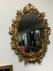 Vintage Victorian Wall Mirror Solid Heavy Ornate Metal Frame Oval