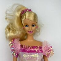 Vintage 90's Barbie Fashion Doll Blonde 1990 Mattel Pink Shiny Dress
