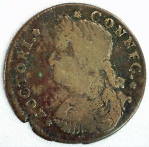 1787 Connecticut Copper Colonial Bust Left Coin CONNFC Variety You Grade Damaged