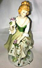 Vintage Marks & Rosenfeld Green Porcelain Lady Figurine 8 Inch Collectable