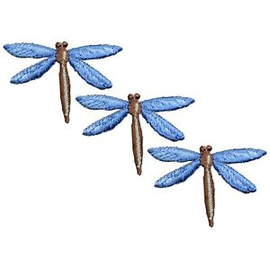 """Dragonfly Applique Patch - Blue Insect Flying Bug Badge 1-3/4"""" (3-Pack, Iron on)"""