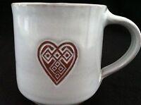Terra Cotta Heart Diamond White Glazed Pottery Coffee Mug Tea Cup Terracotta