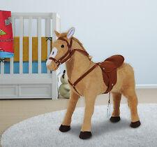 Qaba Children Standing Plush Horse Soft Ride On Toy Pony Cuddly w/ Sound Beige