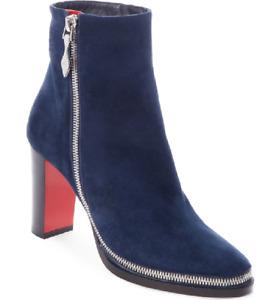 Christian Louboutin Telezip Suede Ankle boots Bootie Zipper Blue 40.5