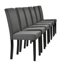 [en.casa] 6x Diseño Sillas Textil Gris Oscuro Silla Alta LEHNER Tela comedor