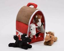 Five Stuffed Animal Horses in Play Carrying Barn Case
