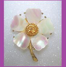 Vintage R. MANDLE Mother of Pearl Dogwood Flower Brooch