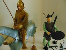 HUGE MARX JOHNNY WEST Knight with Horse and Viking Villian